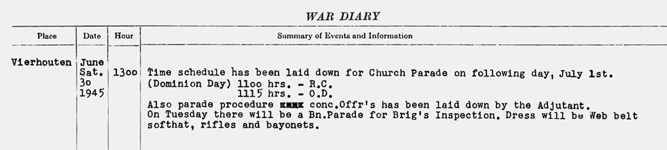 SDG WD Vierhouten June 30 1945 Church Parade Sun July 1